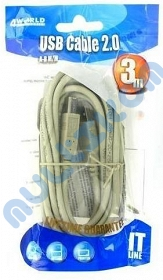 KABEL USB 2.0 A - B, M/M, 4WORLD, 3M DO DRUKARKI