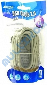 KABEL USB 2.0 A - B, M/M, 4WORLD, 5M DO DRUKARKI